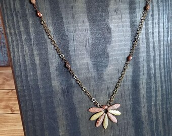 Sunburst Antiqued Brass Necklace with Etched Fire Polished Beads