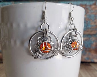 Topaz Orange Trillium Chainmaille Earrings