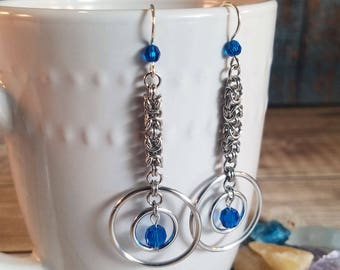 Long Micro Byzantine Drop Earrings with Swarovski Crystals