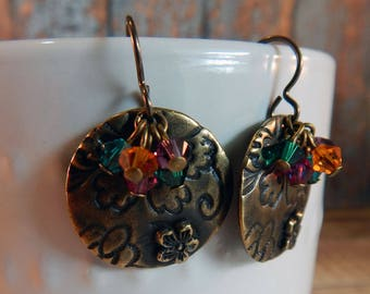 Antiqued Brass Flora Earrings with Swarovski Crystals