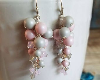 Pastel Swarovski Pearl and Crystals Cluster Earrings in Pink and Gray