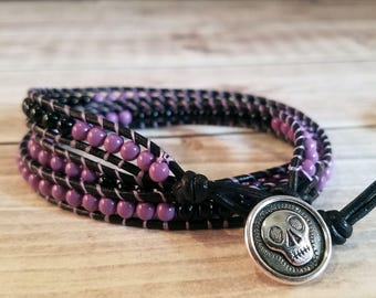 Black and Purple Beaded Triple Wrap Bracelet with Skull Button Closure