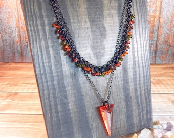 Autumn Sunset Layered Statement Necklace with Swarovski Cystals and Black Chain