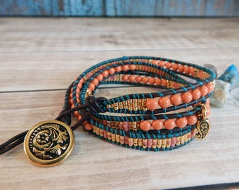Coral Pink and Orange Triple Wrap Bracelet