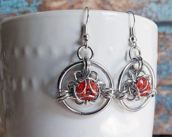 Padparadscha Swarovski Trillium Chainmaille Earrings