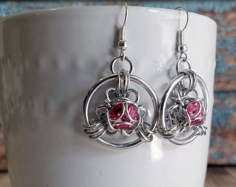 Rose Pink Swarovski Trillium Chainmaille Earrings