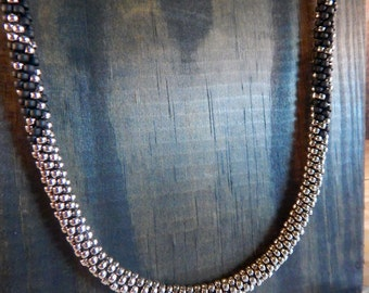 Long Black and Silver Beaded Necklace
