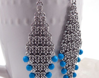 Long Byzantine Diamond Chainmaille Earrings with Turquoise Beads