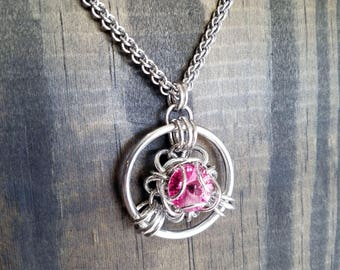 Rose Pink Swarovski Trillium Chainmaille Pendant or Necklace
