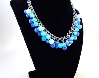 Shades of Blue Beaded Chainmaille Necklace