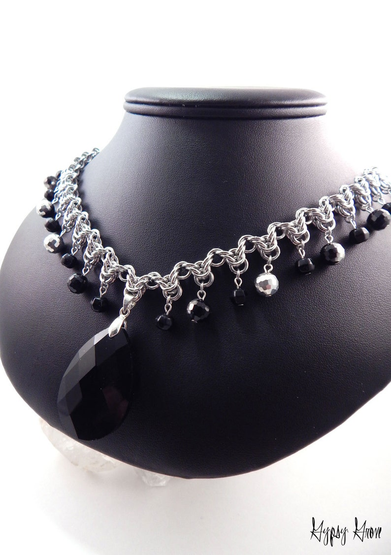Black and Silver Byzantine Arrow Chainmaille Statement image 0