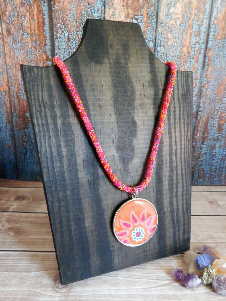Pink and Orange Beaded Necklace with Flower Paisley Pendant image 0