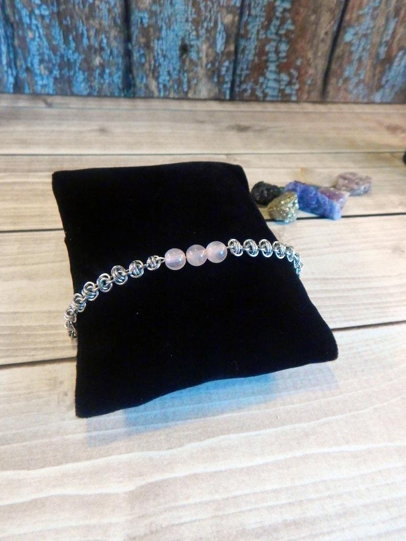 Stacking Rose Quartz and Barrel Weave Chainmaille Bracelet image 0