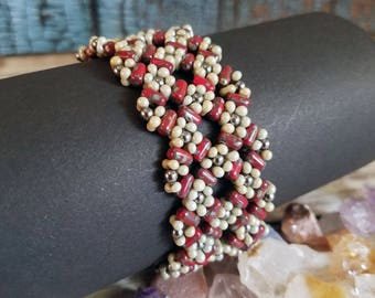 Gorgeous Red and Sage Beaded Flower Cuff Bracelet