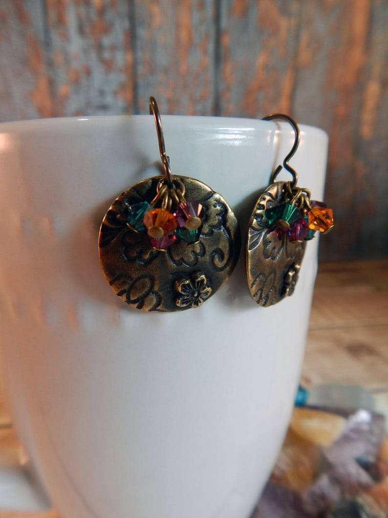 Antiqued Brass Flora Earrings with Swarovski Crystals image 0