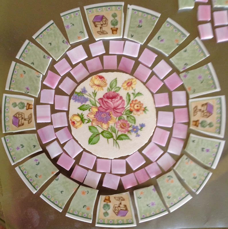 Mosaic Tile Broken Plates Table Top Set Romantic Florals Etsy