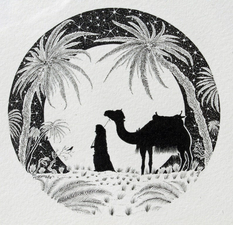Ink Illustration Framed and moon with camel drawing and black and white  illustration and pen and ink moon art and circle wall art framed