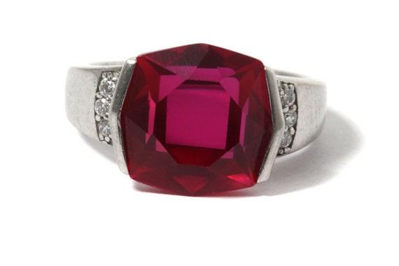 Ruby silver ring