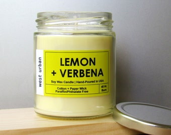 Soy Candle, Scented Jar, Home Decor, Gift, Container Candle, LEMON + VERBENA