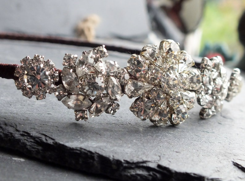 wedding or prom uk rhinestone headress vintage glamour bridal hair accessory Diamant\u00e9 side tiara