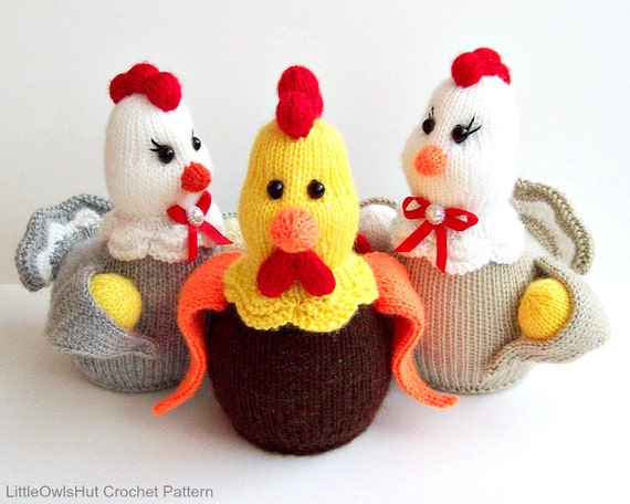 131 Knitting Pattern Hen And Rooster Amigurumi By Etsy