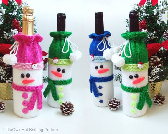 153 Knitting Pattern Snowman Bottle Covers For Wine And Etsy