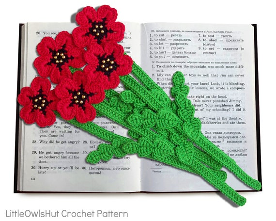 075 Poppy Flower Bookmark Or Decor Amigurumi Crochet Pattern Etsy