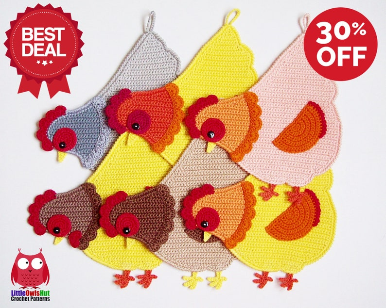 255 Crochet pattern  Chicken decor potholder or decorative image 0
