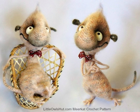 092 Funny Meerkat With Wire Frame Amigurumi Crochet Pattern Etsy