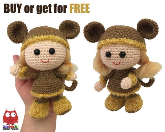 188 Crochet Pattern Girl Doll In A Viking Monkey Outfit Etsy