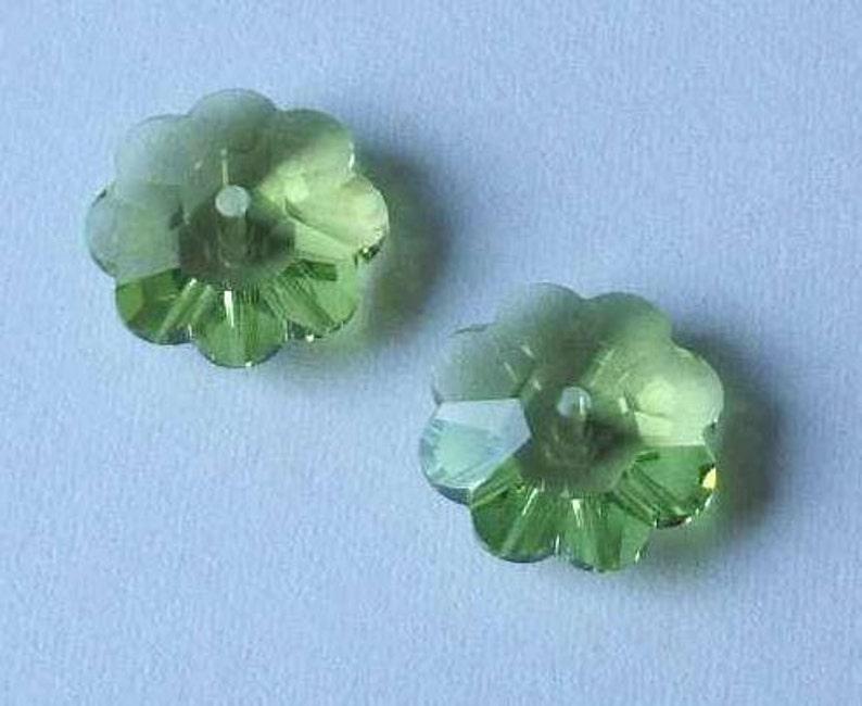 6 10mm Swarovski Margarita Spacer Beads 3700 Volcano Vitrail Peridot Emerald
