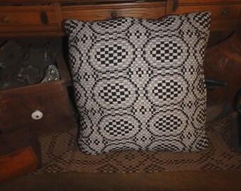 Handmade Black Off White Weaved Pillow 16 x 15