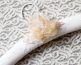 Bridal Dress Hanger Wedding Hanger Wedding Gift - Gold Flower Hanger Wedding Dress Hangers Rustic Wedding Boho Bridal Woodland Wedding Gifts