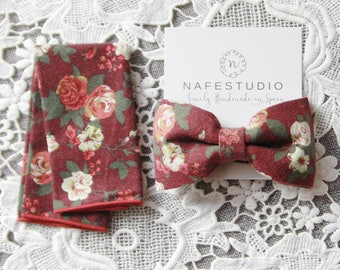 Mens Bow Tie Floral Bow Tie for Men - Rustic Flower Bow Tie Dark Red Pre-tied Bow Tie - Boho Wedding Gift Groom Gift Groomsmen Gifts