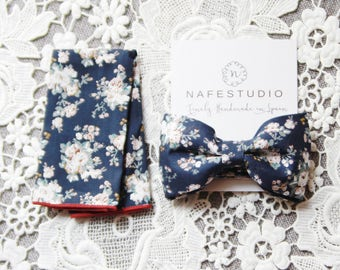 Mens Bow Tie Pre-tied Bow Tie For Men - Floral Bow Tie Navy Blue Bow Tie - Mens Gift Wedding Gifts Rustic Bow Tie Boho Wedding Groom Bow Tie