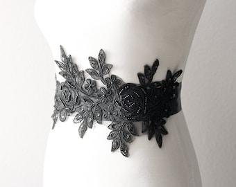 Bridal Sash Belt Wedding Sash Belt - Wedding Dress Sash Belts - Black Ribbon Belt Lace Sash Belt Beaded Flower Belt