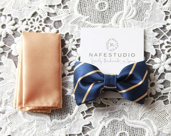 Men's Bow Tie Pre-tied Bow Tie For Men - Gold Bow Tie Navy Blue Bow Tie - Mens Gift Wedding Gifts Rustic Bow Tie Boho Wedding Groom