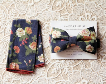 Mens Bow Tie Floral Bow Tie for Men - Rustic Flower Bow Tie - Pre-tied Bowties - Boho Wedding Gift Navy Blue Bow Tie Groomsmen Gifts