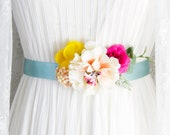 Bridal Sash Belt Wedding Sashes Belts - Rustic Floral Sash Belt Bridesmaids Flower Girl Sash Belt - Boho Bohemian Ribbon Belt Maternity Sash