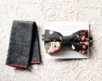 Men's Bow Tie Pre-tied Bow Tie For Men - Floral Bow Tie Black Bow Tie - Mens Gift Wedding Gifts Rustic Bow Tie Boho Wedding Groom Bow Tie