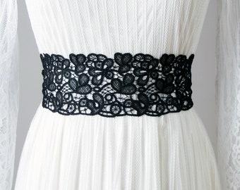 Wedding Sash Belt Bridal Sash Belt Black Sash Belt - Embroidery Lace Sash Belt - Wedding Dress Sashes Belts - Flower Girl Bridesmaid Sashes