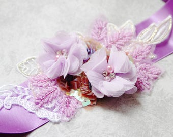Wedding Sash Belt Bridal Belt - Wedding Dress Sashes Belts Floral Belt - Purple Lavender Lilac Flower Sash Belt Ribbon Belt