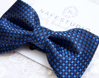 Men's Bow Tie Pre-tied Bow Tie For Men - Navy Blue Bow Tie Wedding Groom Bow Tie - Check Bow Tie Handmade Mens Gift Groomsmen Gifts