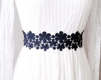 Navy Blue Lace Sash Belt - Bridal Sash Belt Wedding Sash Belt Wedding Dress Sashes Belts - Flower Lace Ribbon Sash Belt - Something Blue