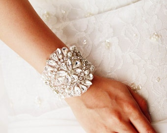 Bridal Bracelet Bridal Cuff Wedding Bracelet Wedding Cuff Wedding Jewelry - Crystal Rhinestone Beaded Cuff Art Deco Statement Bracelet