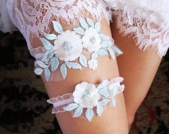 SALE Ice blue  White or Ivory Lace Garter Wedding Garter Set Bridal Garter Set.