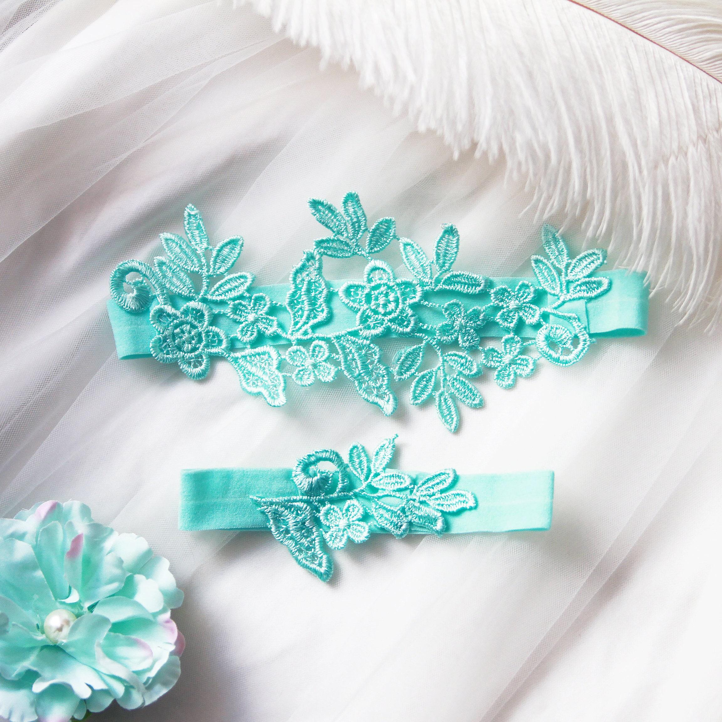 What Is Wedding Garter: Wedding Garter Set Bridal Garter Belt Aqua Blue Garter