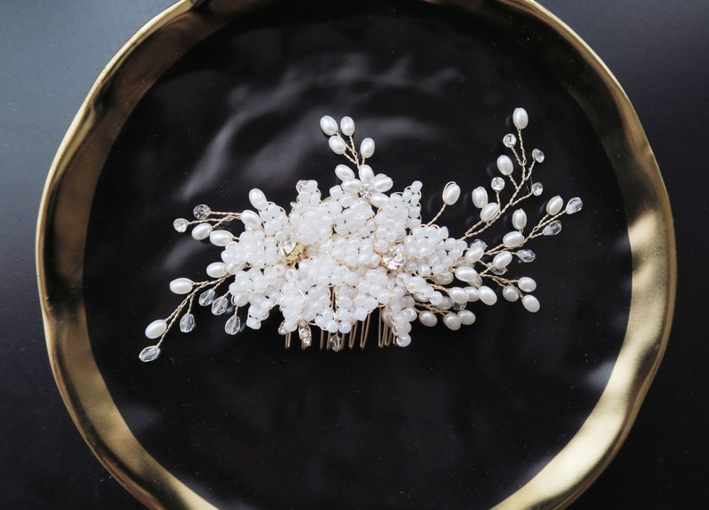 Wedding Headpiece Bridal Flower Hair Comb Bridal Hair Accessories Bridal Headpiece Flower Hair Comb Bridal Comb Bridal Shower Gift