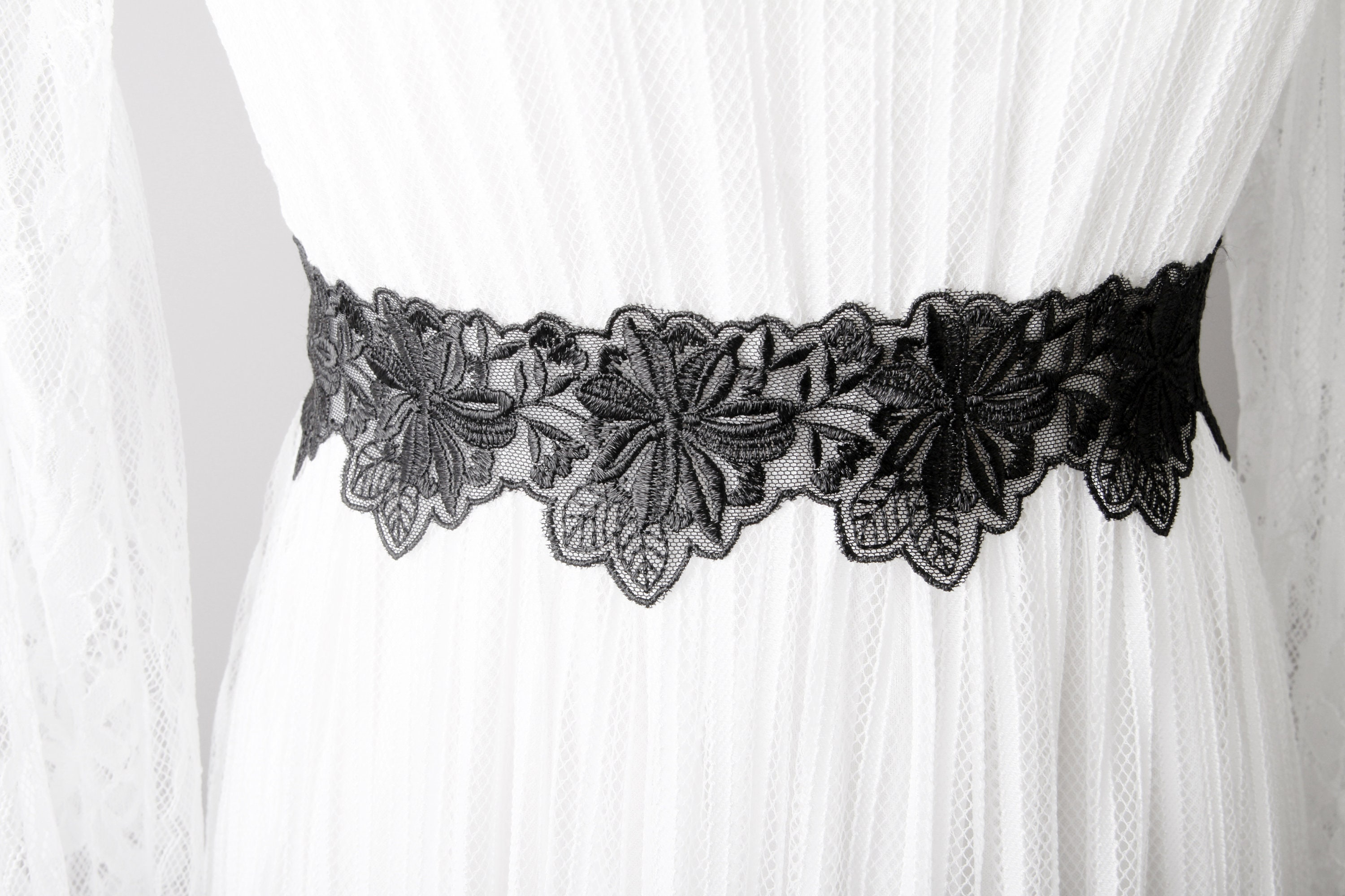 96eabcec639c Black Ribbon Lace Sash Belt Wedding Sash Belt Bridal Sash | Etsy