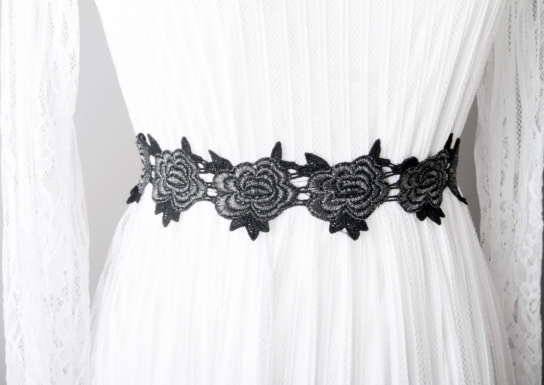 Black Silver Sash Belt Flower Lace Sash Belt Wedding Sash